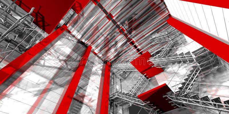 台阶。现代工业内部,台阶,干净的空间在印度斯 皇族释放例证