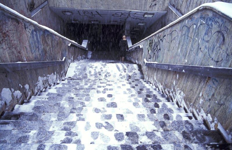 台阶冬天 库存图片