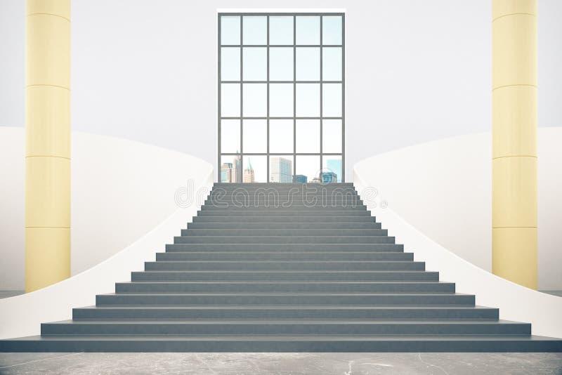台阶和城市视图 库存例证