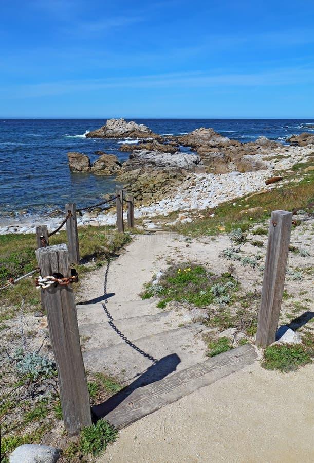 台阶和走道对Asilomar国家海滩在帕西菲克格罗夫, Cal 库存照片