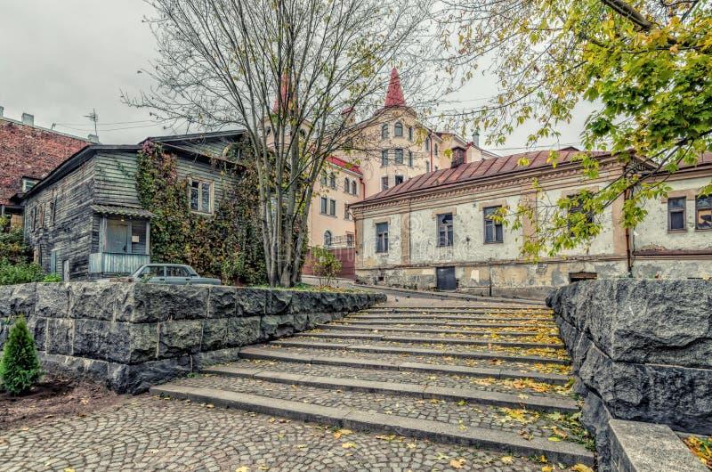 台阶在老镇维堡 免版税库存图片