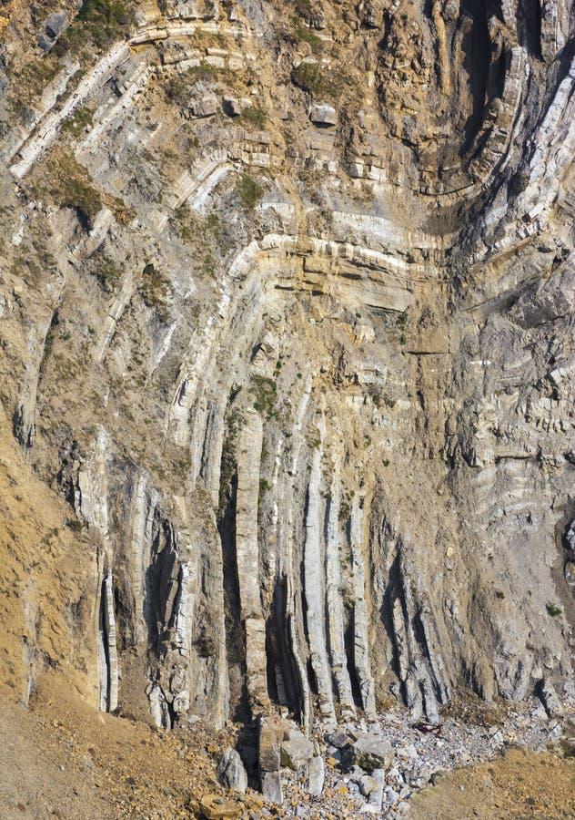 台阶孔, Lulworth小海湾被折叠的石灰石地层  库存照片
