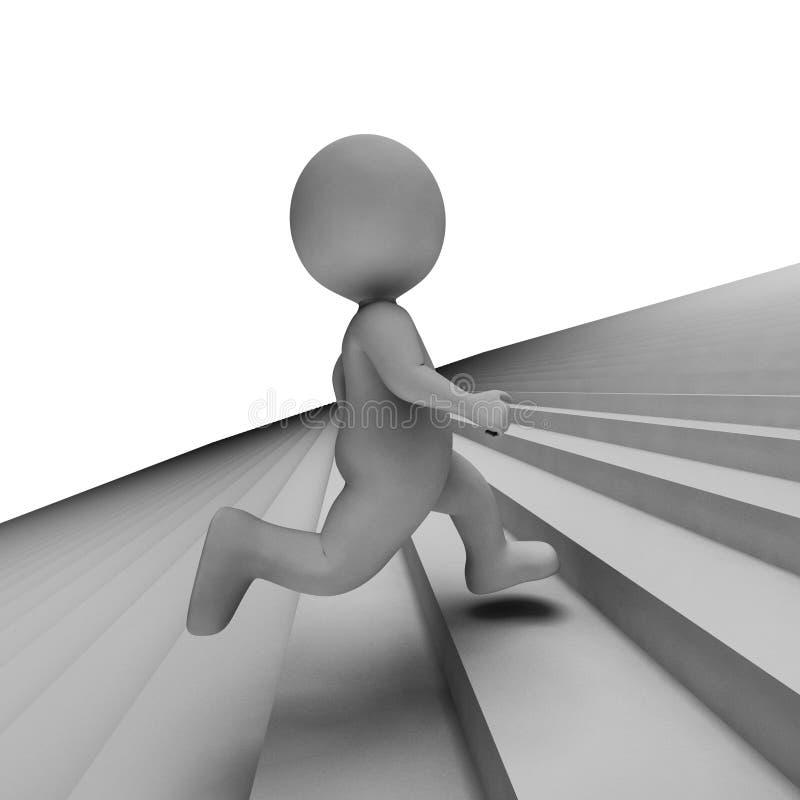 台阶字符手段慢跑者进展和凹凸部3d翻译 库存例证