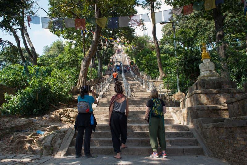 台阶梯子的游人词条斯瓦扬布纳特佛塔或猴子寺庙的 库存图片
