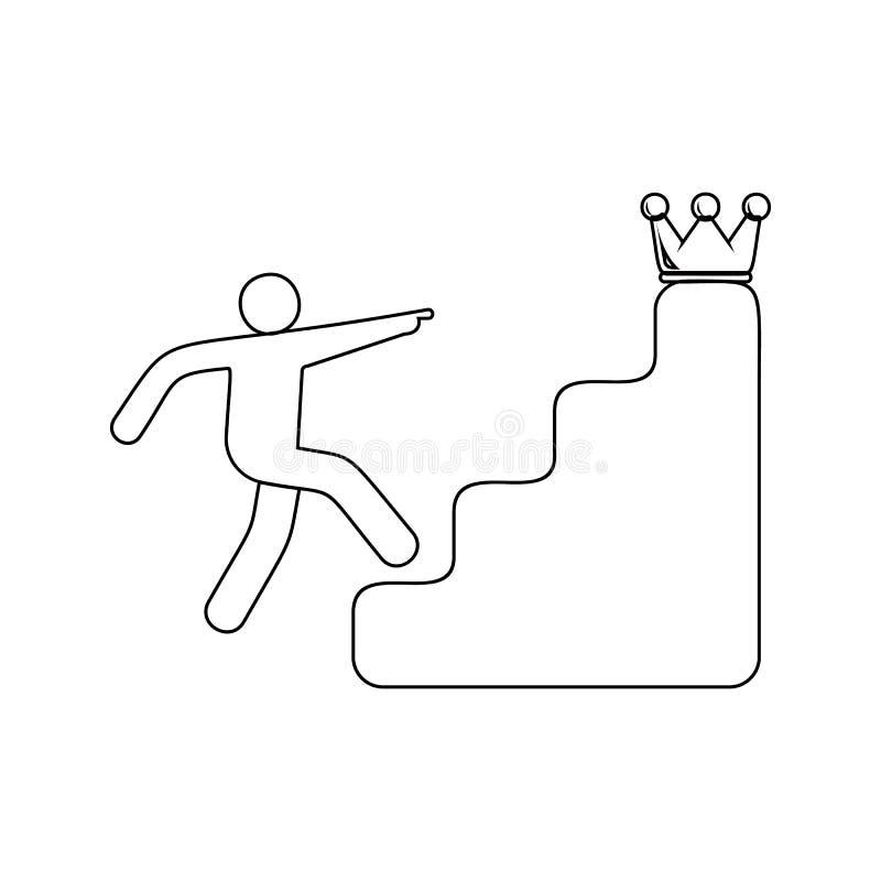 台阶的人在冠象后 流动概念和网应用程序象的Sucsess的元素和奖 稀薄的线象为 向量例证