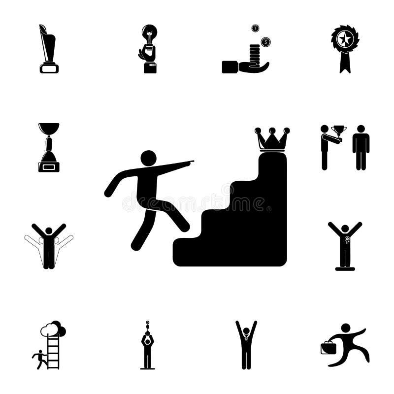 台阶的人在冠象后 详细的套Sucsess和奖象 优质质量图形设计标志 一  皇族释放例证