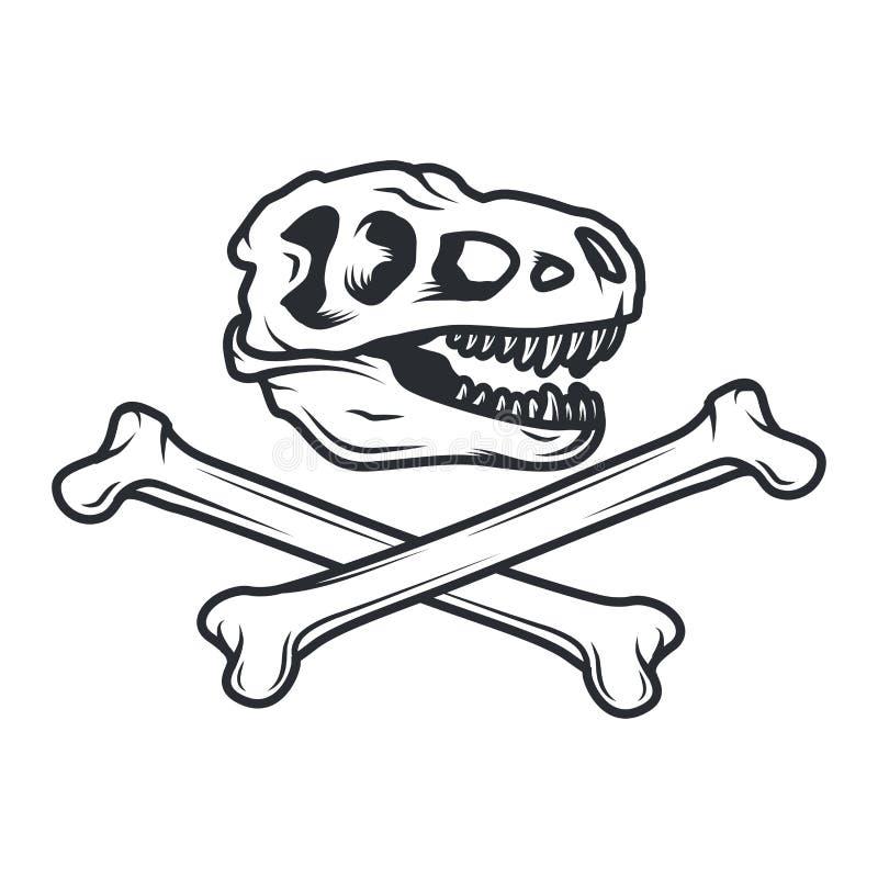 史前史迪诺商标概念 T雷克斯权威设计 侏罗纪恐龙例证 在白色背景的T恤杉概念 向量例证