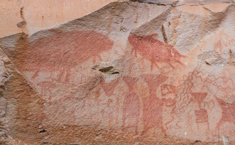 史前岩石绘画 库存图片