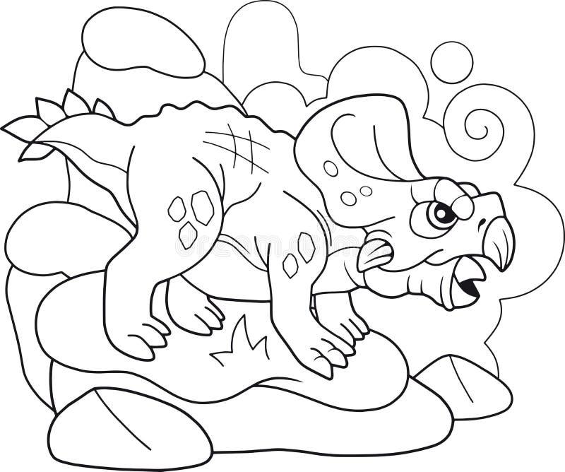 史前恐龙protoceratops,彩图,滑稽的例证 皇族释放例证