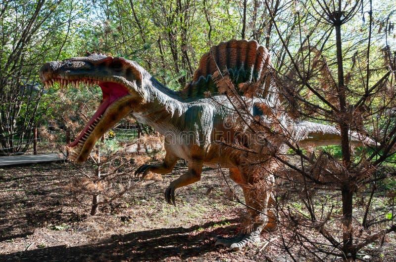 史前恐龙Spinosaurus的攻击 图库摄影