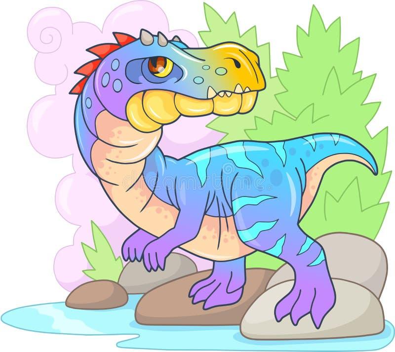 史前掠食性恐龙baryonyx,滑稽的例证 库存例证