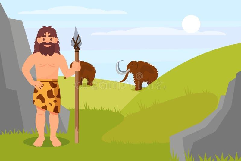 史前穴居人字符在拿着矛,石器时代自然风景传染媒介例证的动物皮毛中 库存例证