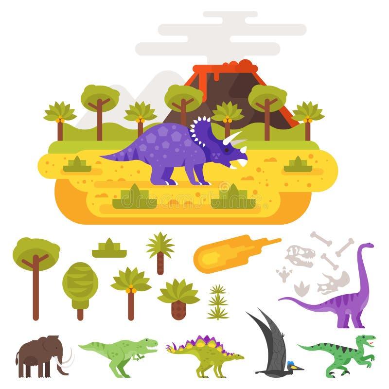 史前风景和火山与恐龙 库存例证