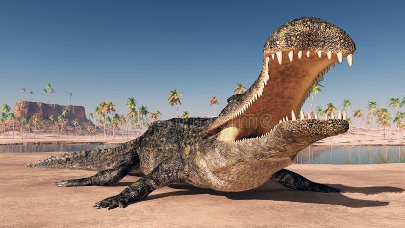 史前鳄鱼Sarcosuchus 库存例证