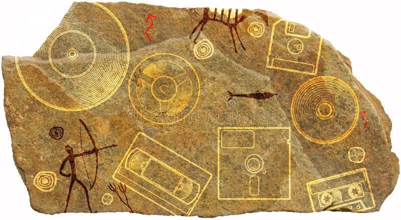 史前刻在岩石上的文字 免版税库存照片