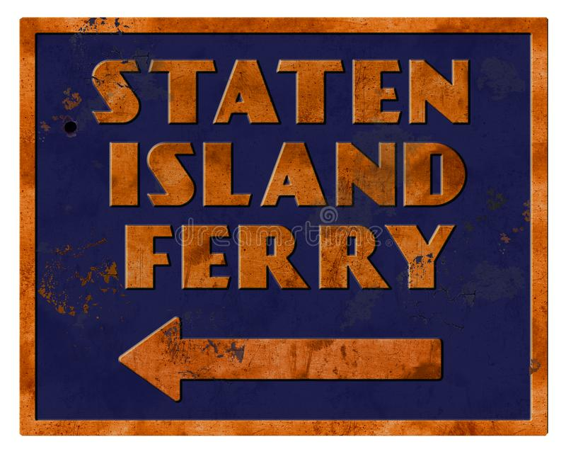 史泰登岛渡轮标志葡萄酒减速火箭的难看的东西 向量例证