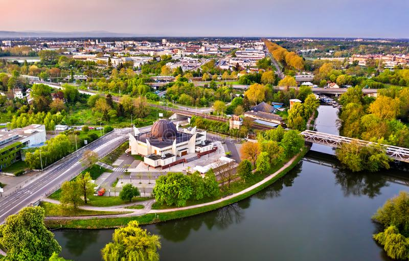 史特拉斯堡和不适的河清真大寺在法国 免版税库存图片