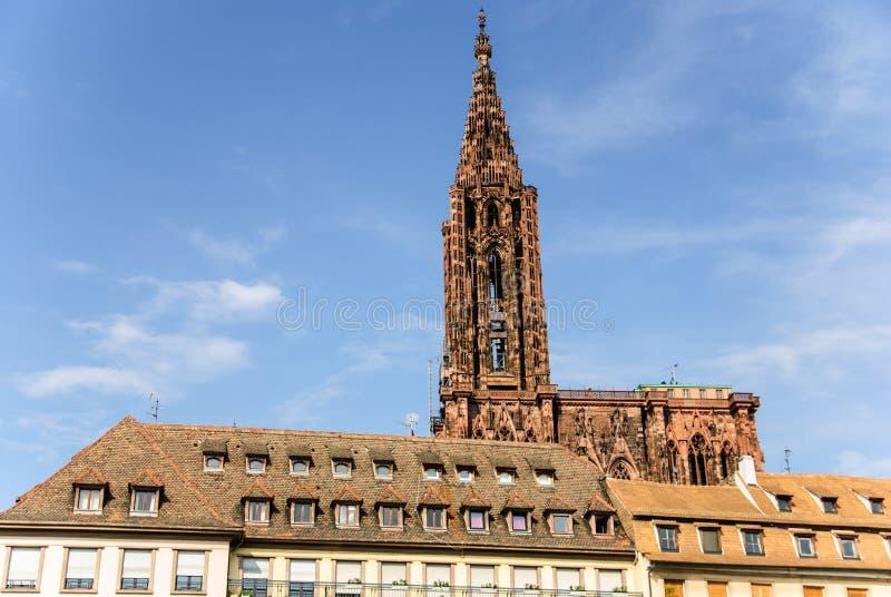 史特拉斯堡哥特式大教堂和老镇,法国 库存图片