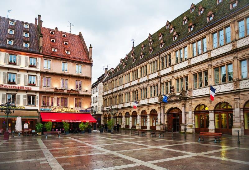 史特拉斯堡,法国- 2015年2月2日:安置古腾堡广场 免版税库存图片