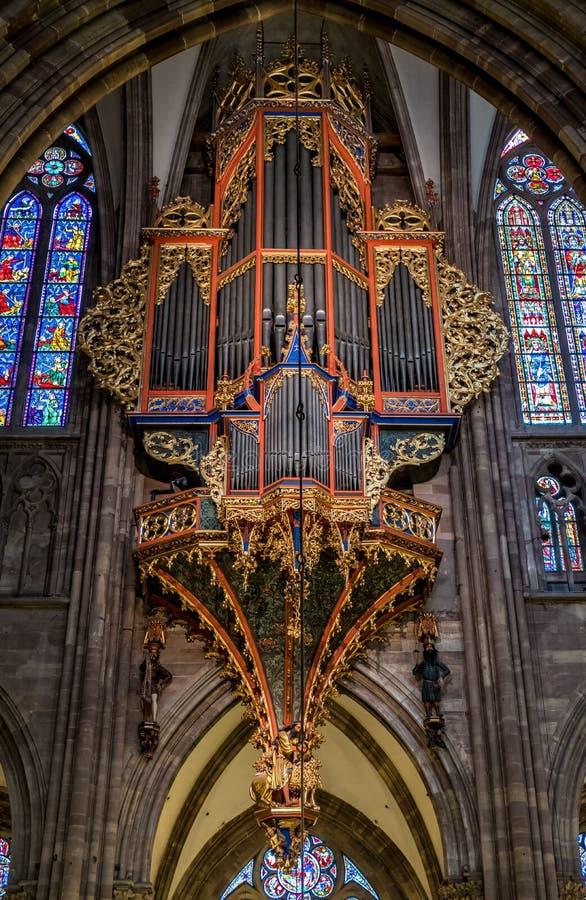 史特拉斯堡,法国- 2017年1月12日-史特拉斯堡` s大教堂器官faceview 免版税库存照片