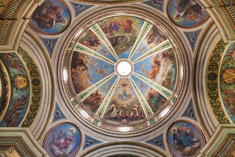 史特拉Maris卡默利特平纹薄呢修道院教会的圆顶  库存图片