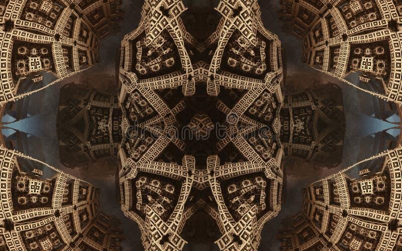 史诗抽象意想不到的海报或背景 从里边未来派看法分数维 样式以箭头的形式 库存图片