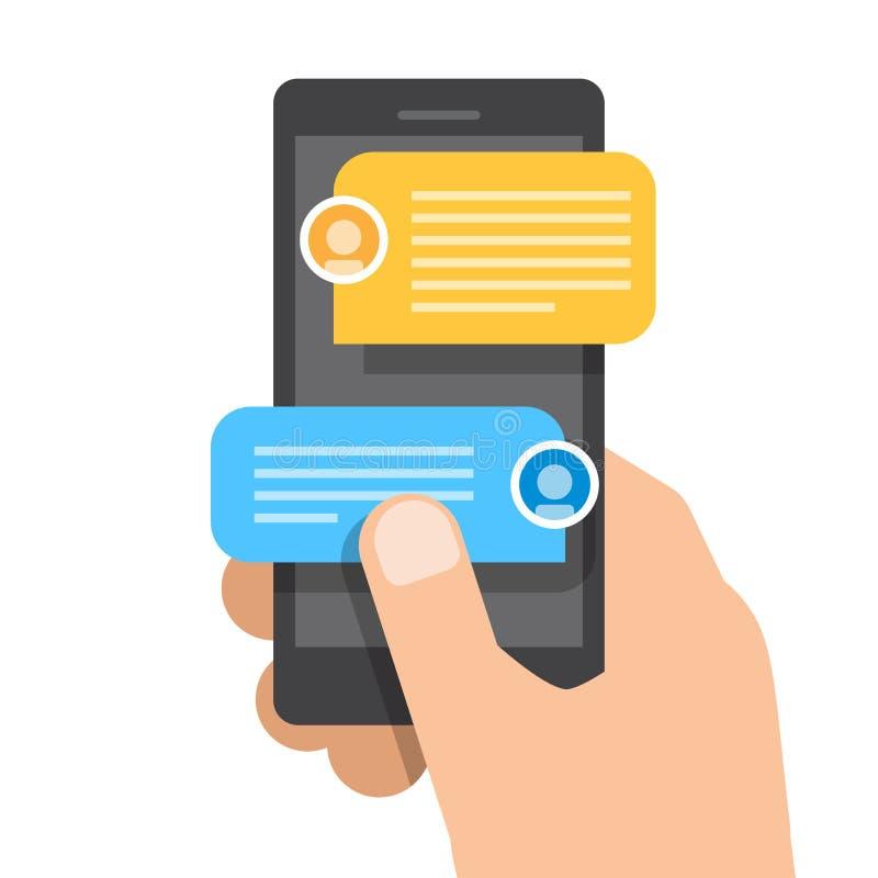 右手拿着智能手机 闲谈在智能手机的消息通知 库存例证