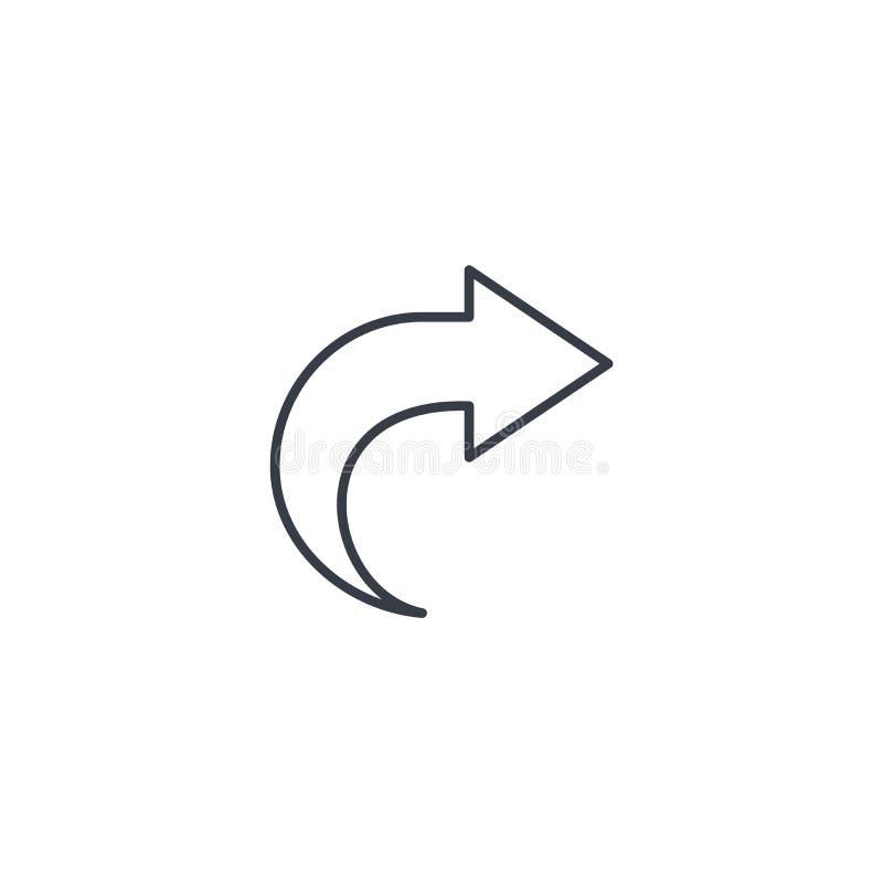 右箭头稀薄的线象 线性传染媒介标志 库存例证