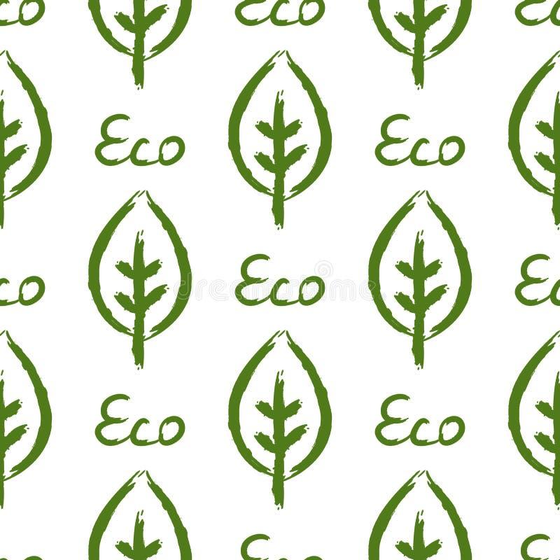 叶子和文本Eco概述  生态无缝的样式 用手画 向量例证