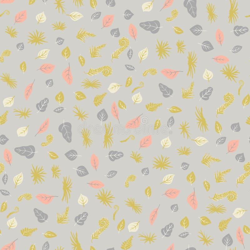 叶子和花的传染媒介无缝的样式 纺织品或书套的,墙纸,设计,形象艺术背景 向量例证
