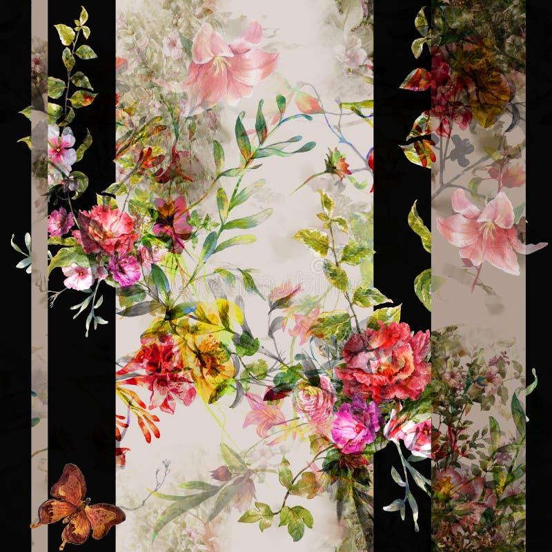 叶子和花,在黑暗的无缝的样式水彩绘画  库存例证