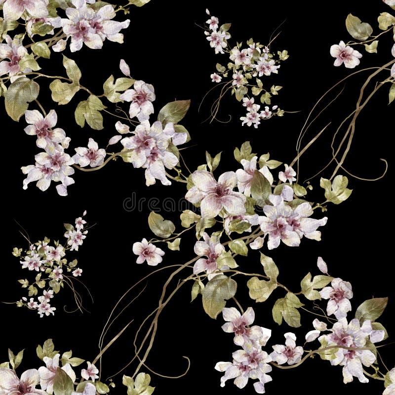 叶子和花,无缝的样式水彩绘画  库存例证