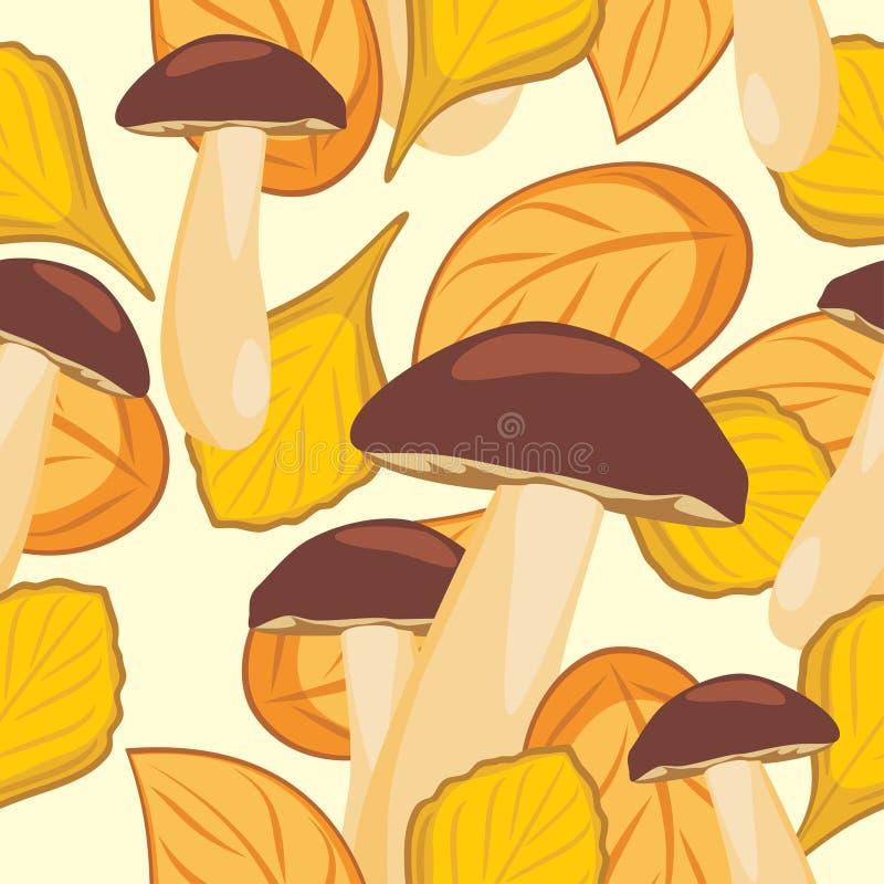 叶子和蘑菇 无缝秋天的背景 皇族释放例证