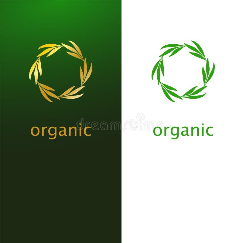 叶子商标象设计抽象花圈  典雅的金黄eco s 库存例证
