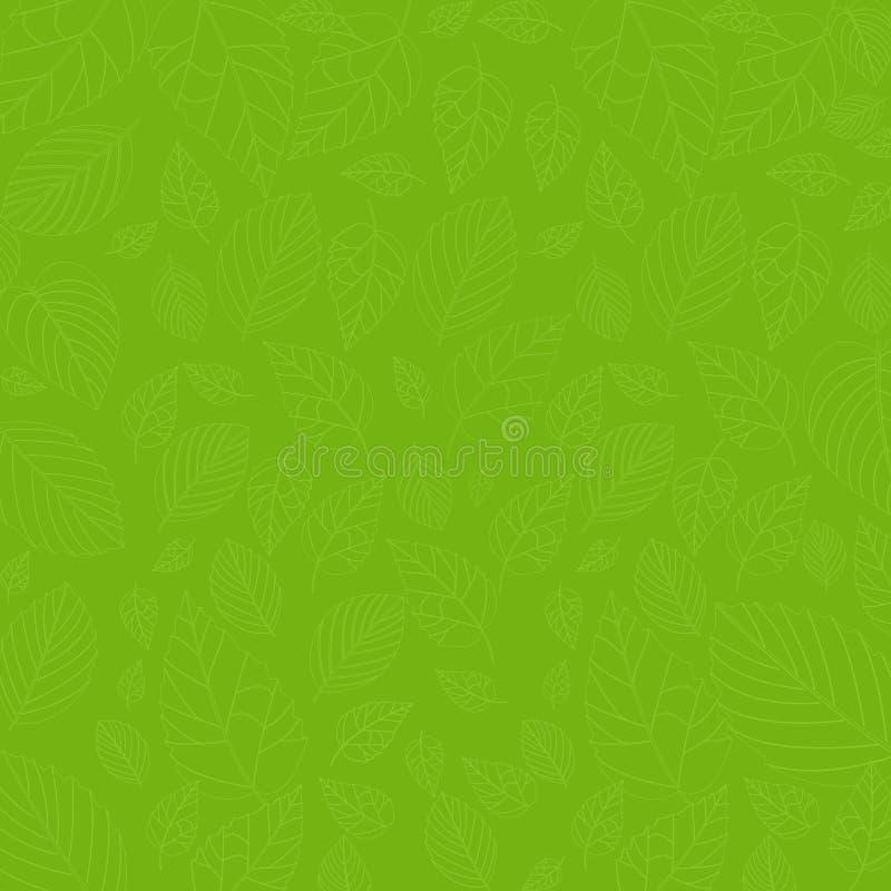 叶子在绿色的样式背景 库存例证