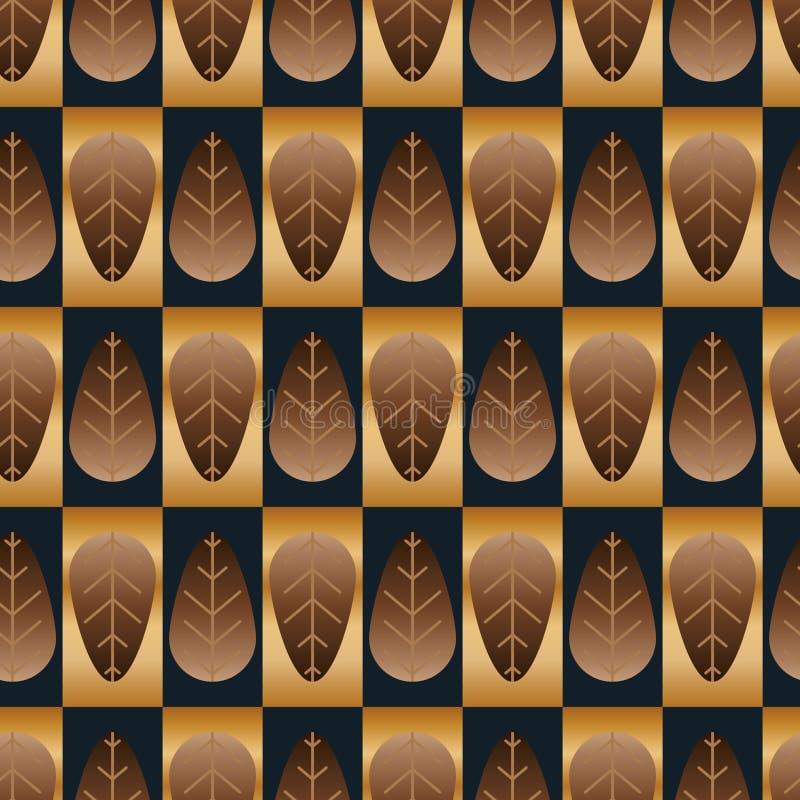 叶子对称金黄棕色蓝色无缝的样式 皇族释放例证