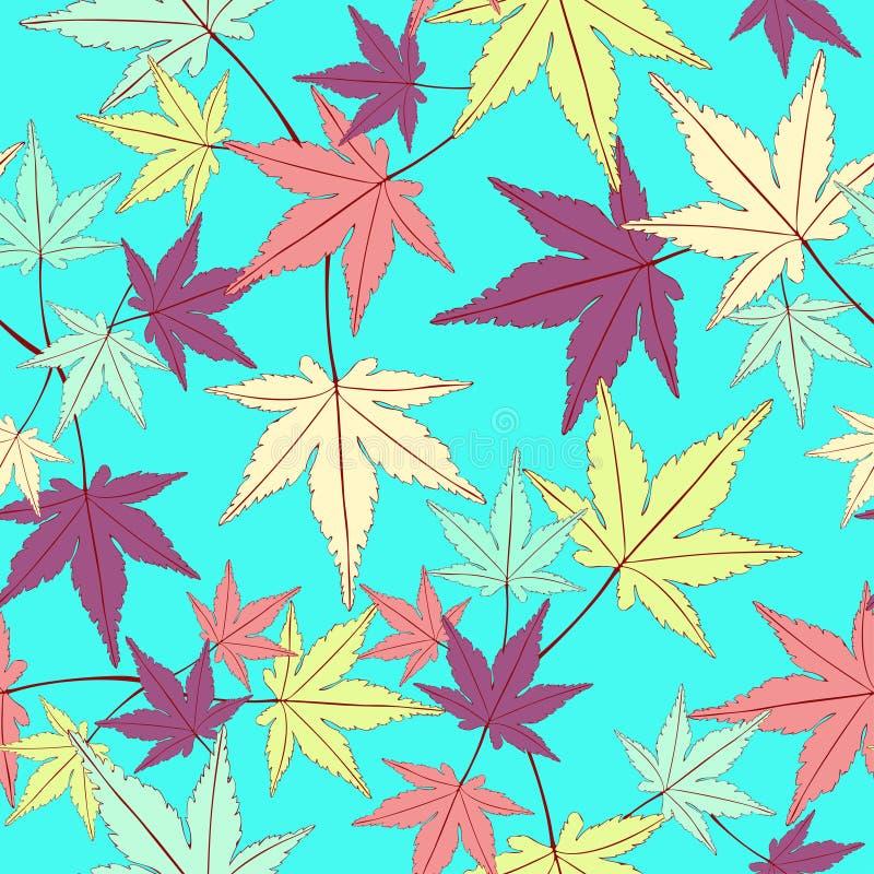 叶子无缝的样式,传染媒介背景 在蓝色的多彩多姿的摘要叶子 对墙纸设计,织品 皇族释放例证