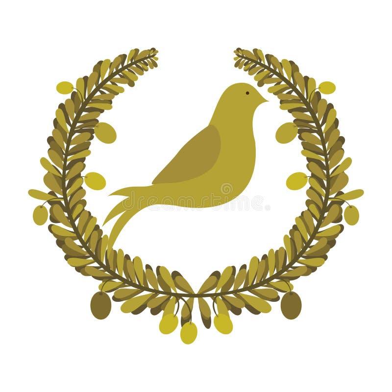 叶子曲拱有鸽子的与橄榄树枝 向量例证