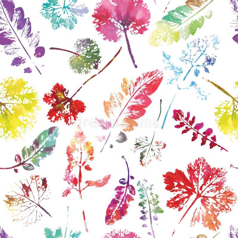叶子的美好的水彩样式 被绘的手工制造 美好的无缝的纹理背景版本记录 向量例证