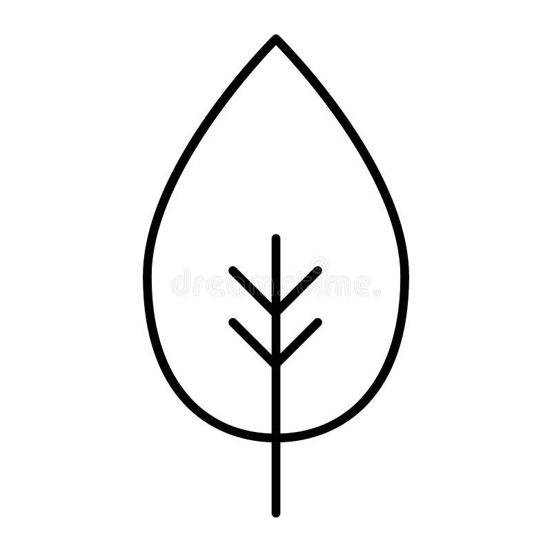 叶子稀薄的线象 单叶在白色隔绝的传染媒介例证 抽象叶子概述样式设计,设计为 皇族释放例证