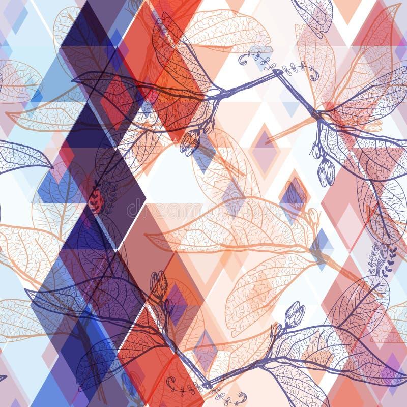 叶子等高,彩虹明亮的桃红色红色蓝色靛蓝现代时髦花卉无缝的样式,手拉 几何抽象backgro 库存例证