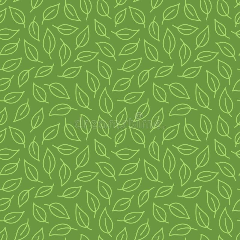 叶子背景 与叶子的绿色无缝的样式在最小的线乱画样式 装饰重复包裹背景 皇族释放例证