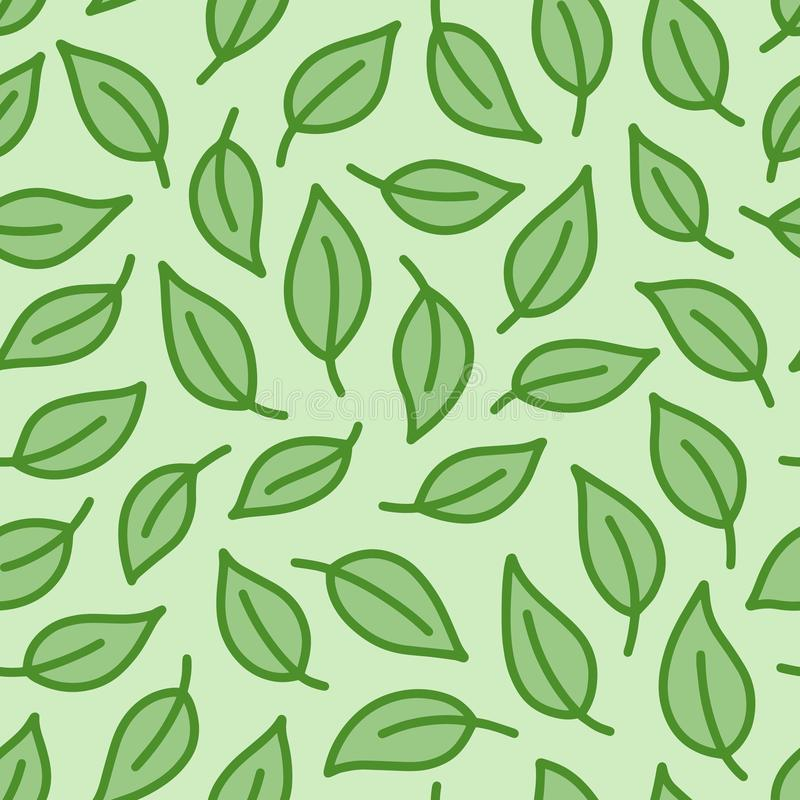 叶子背景 绿色上色了与叶子的无缝的样式在最小的线乱画样式 装饰重复包裹 库存例证