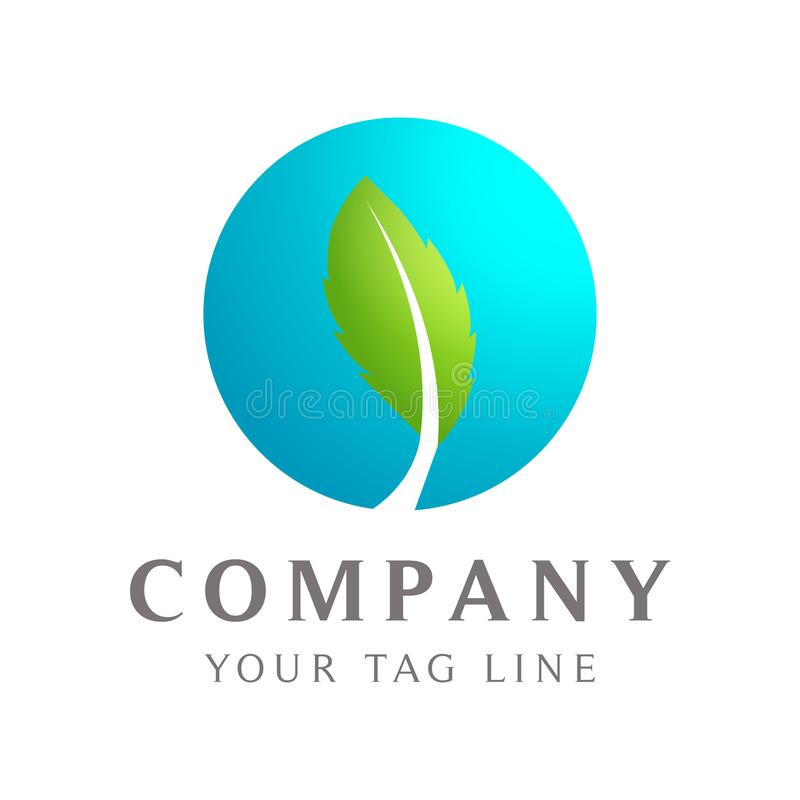 叶子象,鲜绿色和蓝色商标模板 皇族释放例证