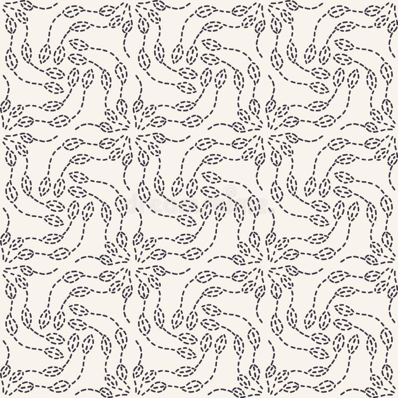 叶子连续针刺绣样式 简单的针线无缝的传染媒介背景 手拉的几何花卉马赛克纺织品 向量例证