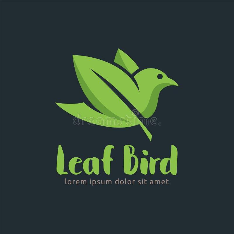 叶子鸟商标设计模板,容易定做 叶子鸟 向量例证