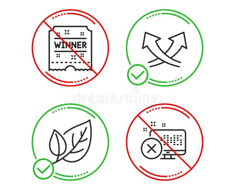 叶子,优胜者票和交叉点箭头象集合 废弃物通入标志 生态,转盘授予,交换 ?? 库存例证