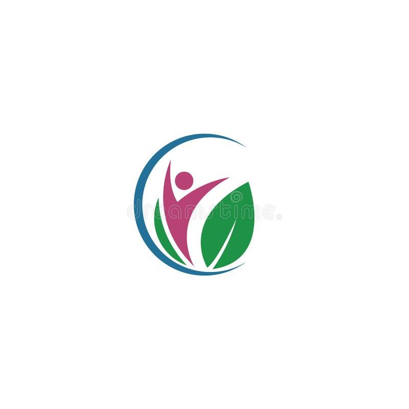叶子,植物,商标,生态,人们,健康,绿色,叶子,自然标志传染媒介象套设计 向量例证