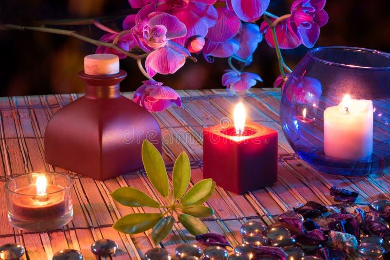 叶子,蜡烛,油,杂烩,  免版税库存图片