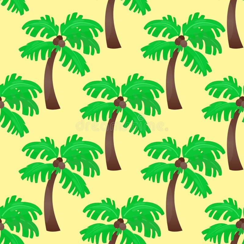 叶子绿化棕榈树无缝的样式传染媒介夏天叶子植物背景 皇族释放例证